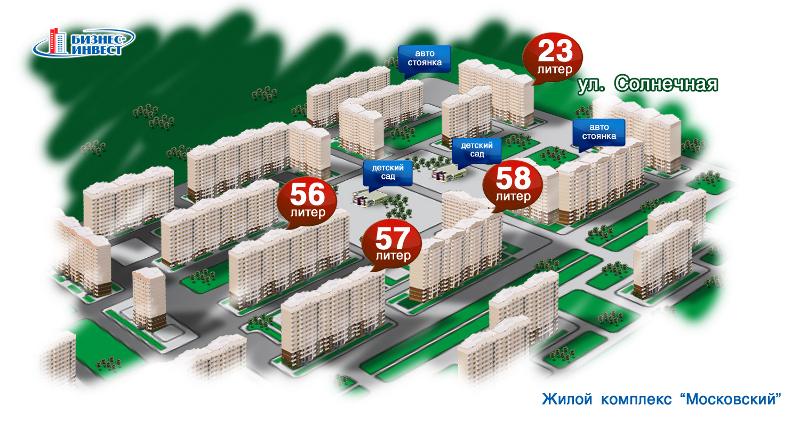 Генеральный план ЖК «Московский» в Краснодаре